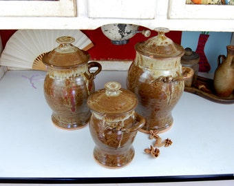 Kitchen Canister Set of Three in Brownstone - Made to Order