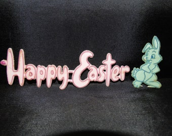 1960's Easter Bunny Cake Topper, Happy Easter Cupcake topper Scrapbooking Cupcake Embellishment, Baking Supplies