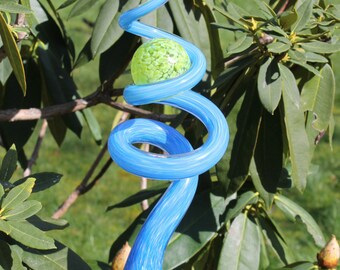 Baby Blue Glass Sculpted Tigger Tail with Lime Green Ball Garden Art Finial Outdoor Garden Sculpture