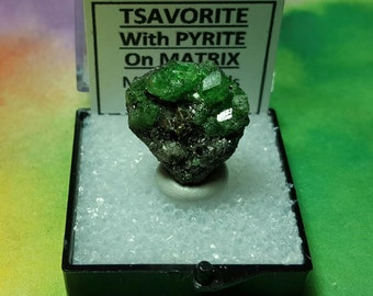 TSAVORITE GARNET With Pyrite On Matrix Bright Green Terminated Crystals Mineral Specimen In Perky Box From Tanzania