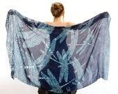 Women shawl, scarf, sarong, Original Art hand painted Dragonflies, stunning unique and useful, perfect Valentine gifts.