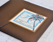 Pocket Fold Wedding Invitation Design Fee (Palm Tree Design in Chocolate and Copper with Monogram Closure)