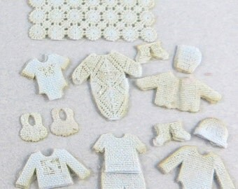 """KIT Blue Baby Boy Bunting Kit Layette in Quarter Scale laser cut cotton for Baby Boy 1:48 1/4"""" LQ062"""