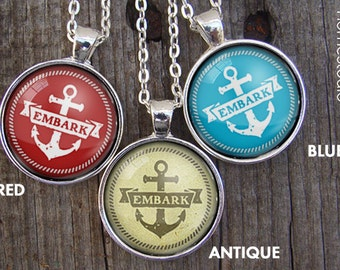 Embark (Anchor) : Glass Dome Necklace . lds mutual theme. young women yw girls camp. mormon gifts. seminary stake ward youth conference