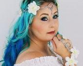 Flower Crown in Silver and White, Wedding Headpiece,Wedding Accessory, Wedding Wreath,Floral Crown, Fairy, Renaissance, Costume, Burning Man