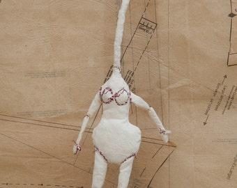 Art Doll, Doll, Wall Art, Fine Art, Sculpture, Fiber Art, Figurative Art, Cloth Doll, Soft Sculpture, Stitched Doll, Wall Art, Fabric Doll