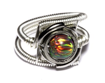 Cyberpunk Jewelry - Ring - Mexican Brown LAB created OPAL