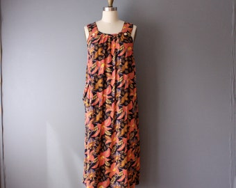 vintage batik dress / bold floral tent dress / orange black sumer dress