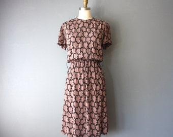 vintage 80s dress / rayon secretary dress / pink black paisley dress / xs