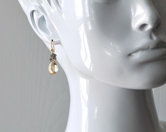 Smooth Citrine and Iolite Cluster Earrings in Gold