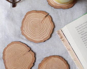 Wood Coasters, Made of Wood Tree Rings Design, Set of 4 different illustrations, rustic home decor inspired by nature cabin decor