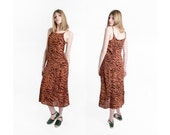 sale MAXI DRESS animal print vintage summer sun vintage boho 90s / Small xS extra Small / better Stay together