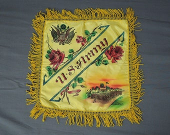 Vintage Souvenir Pillow Cover U.S. Army 1940s 1950s Fringe Painted Pillow Sham