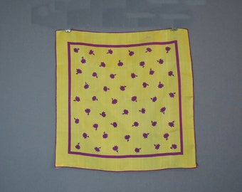 Yellow & Pink Vintage Silk Scarf, 16-1/2 x 16-1/2 inches, Sally Gee, 1960s