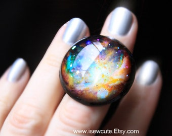 Orion Nebula Galaxy ring, Out of this World Fashion Statement, Glitter Resin Hubble Stardust Ring Modern Resin Outer Space Jewelry