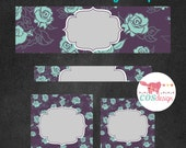 INSTANT DOWNLOAD - DIY Blank Etsy Shop Set - Premade Etsy Banner Set - Shop Icon - Etsy Shop Cover - Beautiful Teal Roses