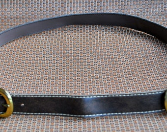 Vintage Country Set Brown Fabric and Faux Leather Two Buckle Belt - 1970s