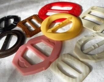 Lot of 9 VINTAGE Plastic Slide Buckles  9A