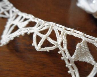 ANTIQUE Ecru Reticella Needle Lace Handmade 3+ Yards Trim Edging Aplique