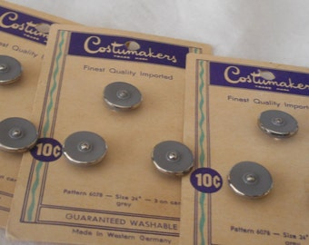 Set of 9 VINTAGE Silver Trim Grey Glass BUTTONS