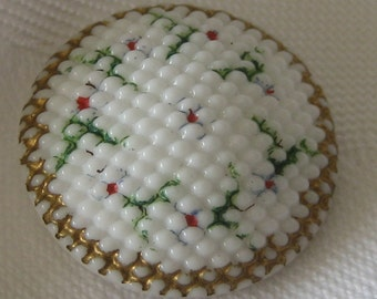 ANTIQUE Dot White Milk Glass with Painted Flowers BUTTON