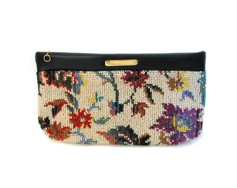 70s Floral Needlepoint Clutch Purse, 70s Floral Handbag, Vintage Floral Clutch With Faux Leather Trim