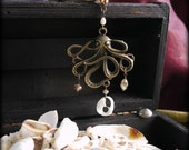 Octopus necklace - pearl & crystals. Antique gold, ivory and soft browns