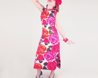 60s Pink and Orange Rose Print Cotton Long Shift Dress M