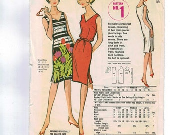 1960s Vintage Sewing Pattern McCalls No 1 Quaker Oats Premium Free Pattern Size Small 10 11 12 bust 31 32 1960s 60s  UNCUT  99
