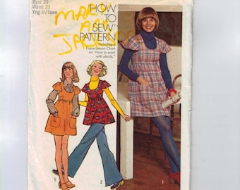 1970s Vintage Sewing Pattern Simplicity 5796 Juniors Short Jumper Dress Mini or Tunic High Waist Flutter Sleeves Size 7 8 Bust 29 1973
