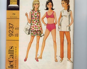 1960s Vintage Dress Pattern McCalls 9237 Misses Top Shorts Pants Bikini Two Piece Bathing Suit Size 12 Bust 34 1968 60s  99