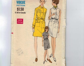 1960s Vintage Sewing Pattern Vogue 7301 Misses Shift Dress with Button Front Size 14 Bust 36 60s  99