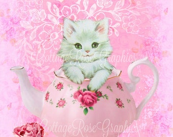 KItties Tea Party pink roses digtial printable download BUY 3 get one FREE ecs svfteam