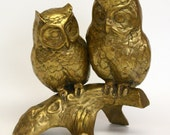 Large Pair of Brass Owls On Tree Branch