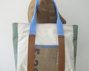 Sail Cloth Tote/Diaper Bag/Overnight Bag, upcycled and Maine made