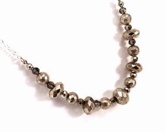 Silver pyrite necklace with sterling silver chain