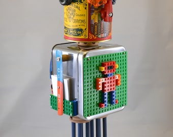 ARTIMUS the TOY BOT, Assemblage Art Recycled Robot Sculpture, Childhood Memories Await
