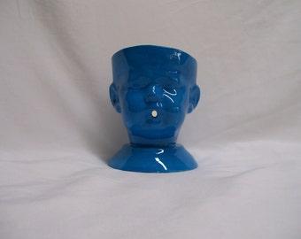 Ceramic Doll Head  Yarn Bowl Blue