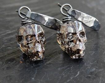 Momento Mori Earrings: Swarovski crystal skull earrings, blackened Sterling silver, hammered earwires, crystal black patina, skull earrings