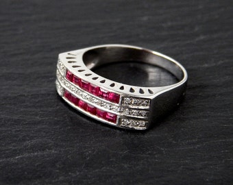 18k Art Deco Ring: Ruby, Diamond, White Gold, size 7, band, 6mm wide, 1920s jewelry, square ruby, July birthstone, geometric, pink and white