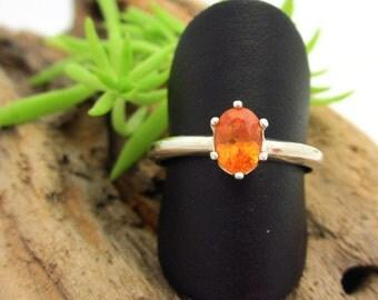 Spessartite Garnet Ring in Sterling Silver,  Light Mandarin Orange Gemstone - Free Gift Wrapping