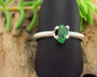 Raw Tsavorite Garnet  Ring in Sterling Silver, Vivid Emerald Forest Green Gemstone - Free Gift Wrapping