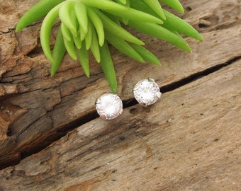 Danburite Earrings in Gold, Silver, or Platinum with Genuine Gems, 4mm - Free Gift Wrapping