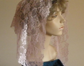 Pink Lace Mantilla Headcovering Triangle Chapel Veil -- ECONOMICAL Style -- Ready to Ship!