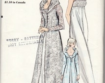 """Rare Vintage Sewing Pattern Ladies' Robe & Nightgown Vogue 6430 34"""" Bust  FF- Free Pattern Grading E-book Included"""