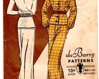 Rare Vintage Sewing Pattern 1930's Ladies Art Deco Pajamas DuBarry 1137B - Free Pattern Grading E-book Included