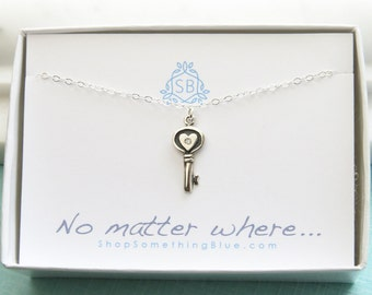 Best Friend Gift • Genuine Diamond Key Necklace • Heart Key & Diamond Accent • Love Gift • Key To My Heart • BFF Gift • No Matter Where