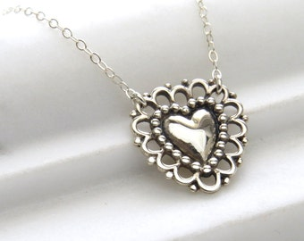 Lacy Doily Heart Necklace • Love Necklace • Sweetheart Gift • Lover • Romantic Victorian Style Heart • Charming