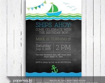 Sail Boat Birthday Invitation, Nautical Party Invitation, Chalkboard Ocean Invitation, Sea Invitation, Digital File, Printable, 159C