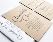 NEW Annabelle Modern Calligraphy Script Recycled Kraft Rustic Wedding Invitation Sample